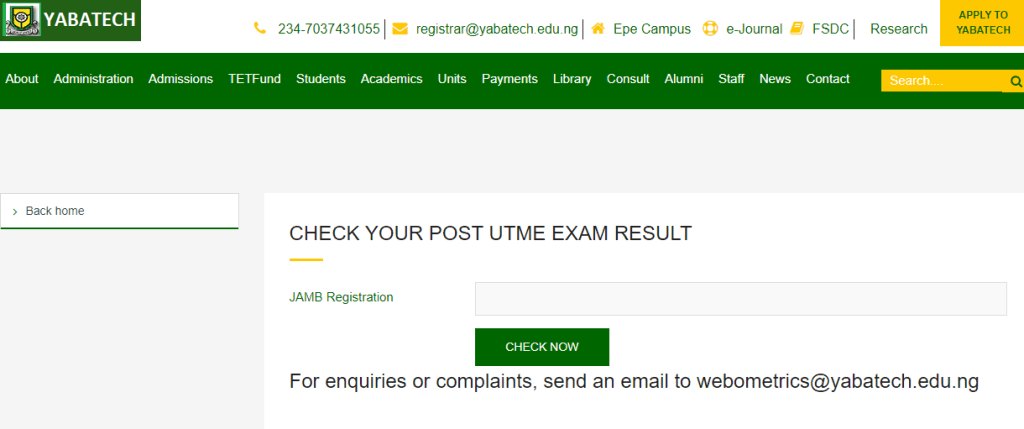 How to Check YABATECH Post UTME Result