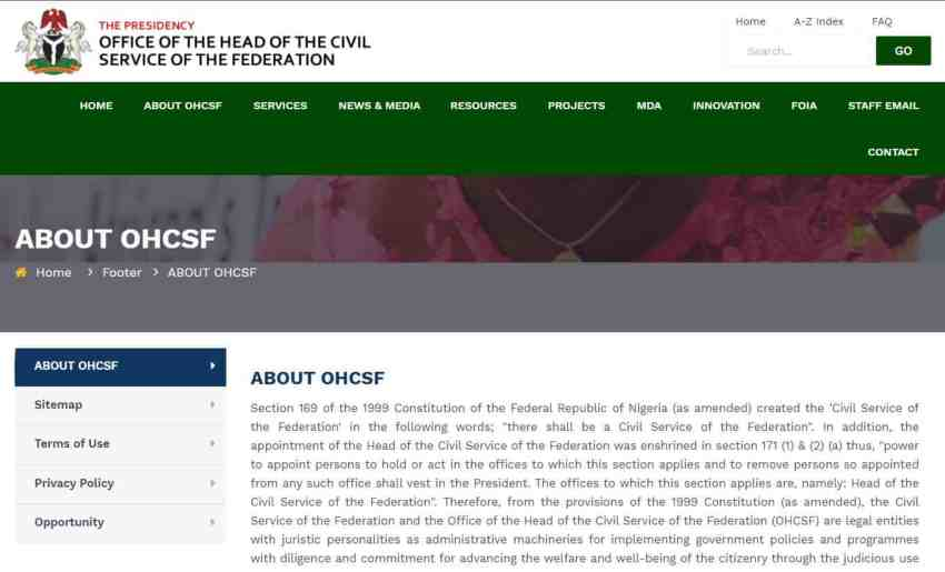 About Federal Civil Service Commission Website | www.fcsc.gov.ng