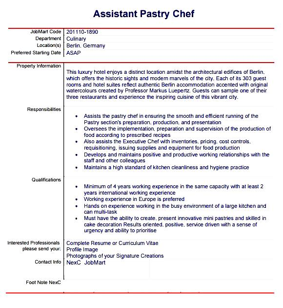 Pastry chef resume template resume sample pastry chef resume template free samples examples format yelopaper Images
