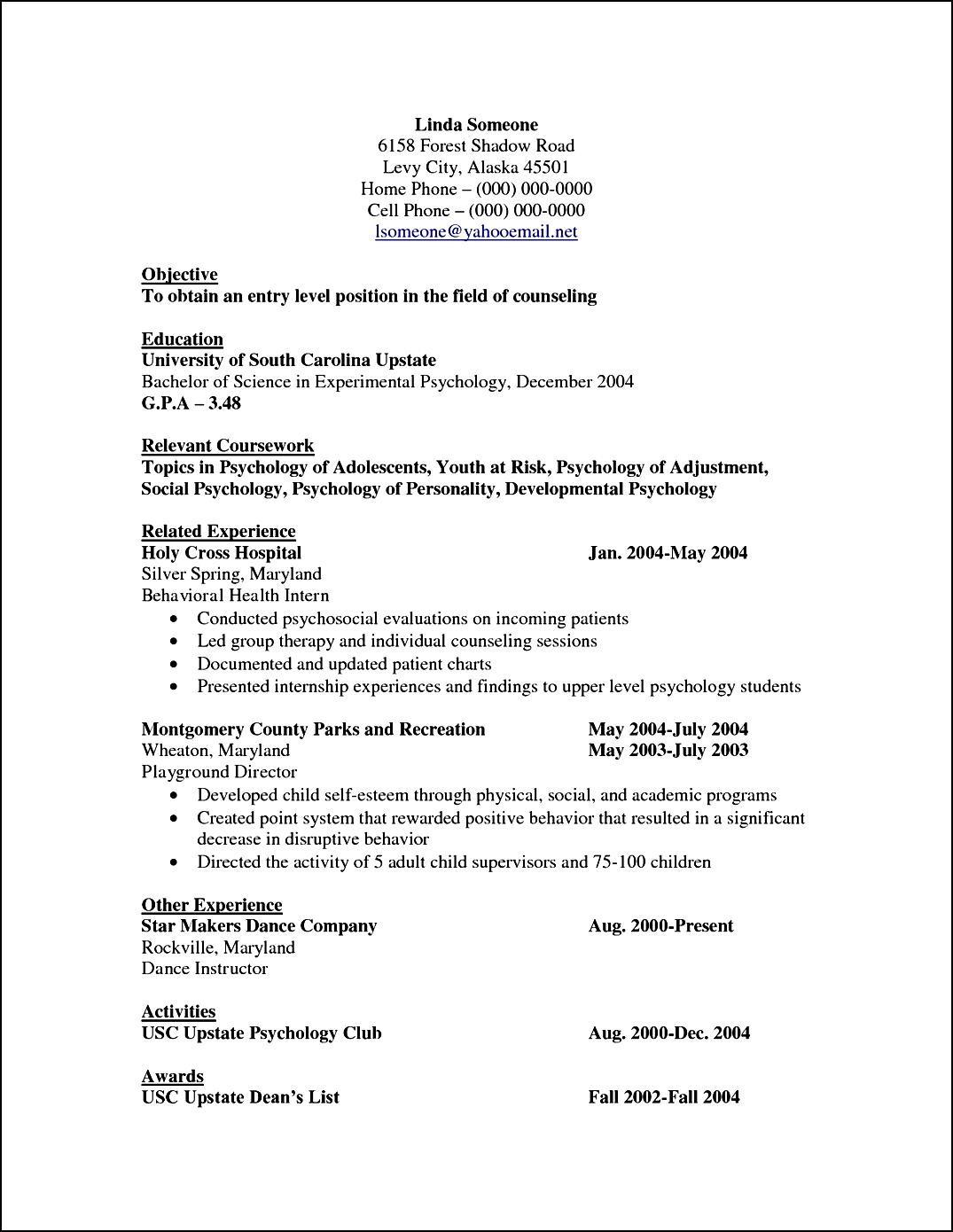 Curriculum Vitae Template For Psychologist