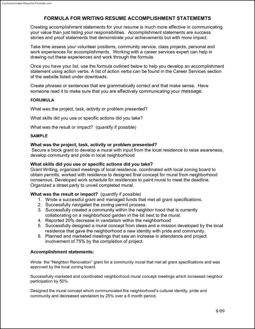 Accomplishment Resume Template Free Samples Examples