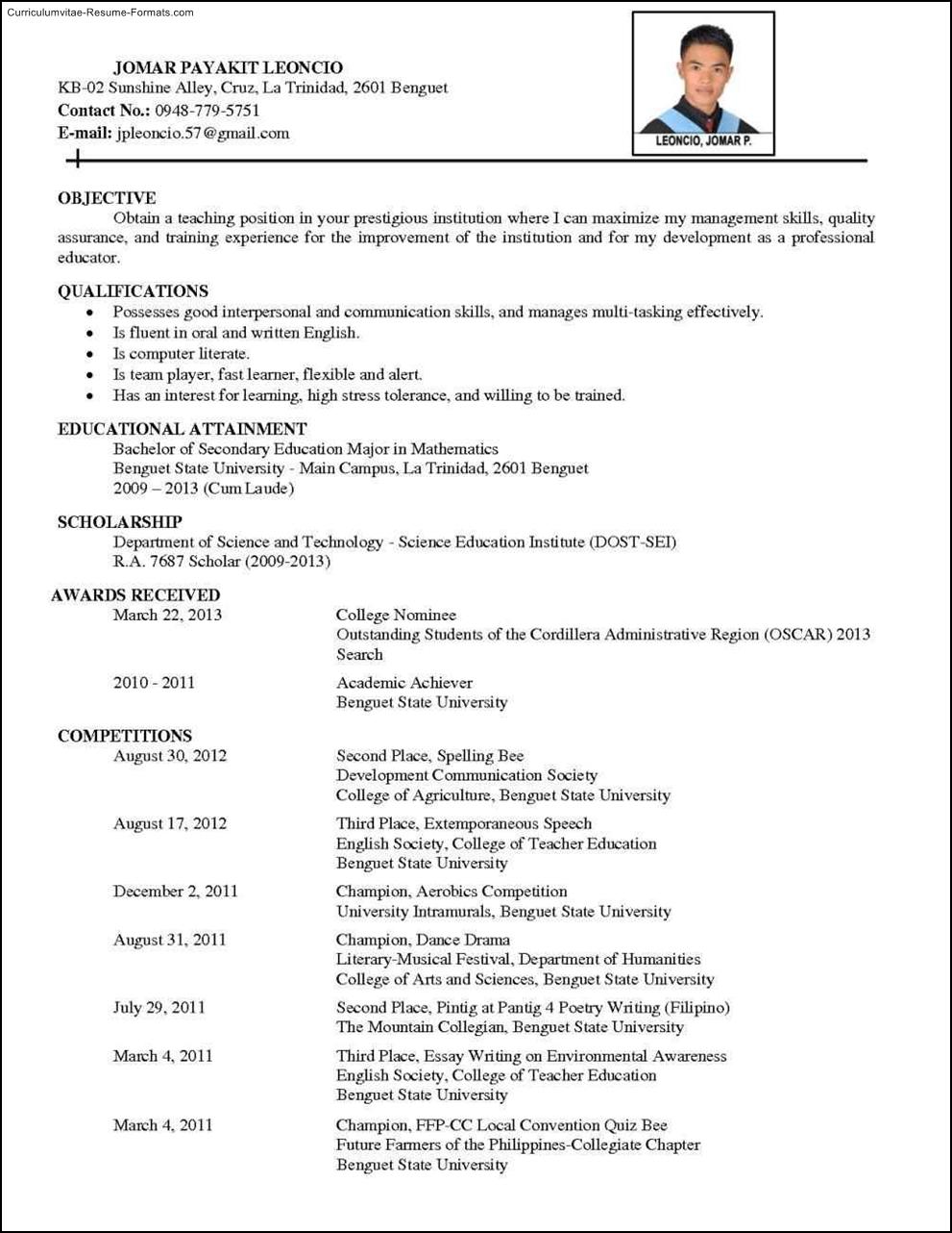 Comprehensive Resume Template Free Samples Examples Format Resume Curruculum Vitae