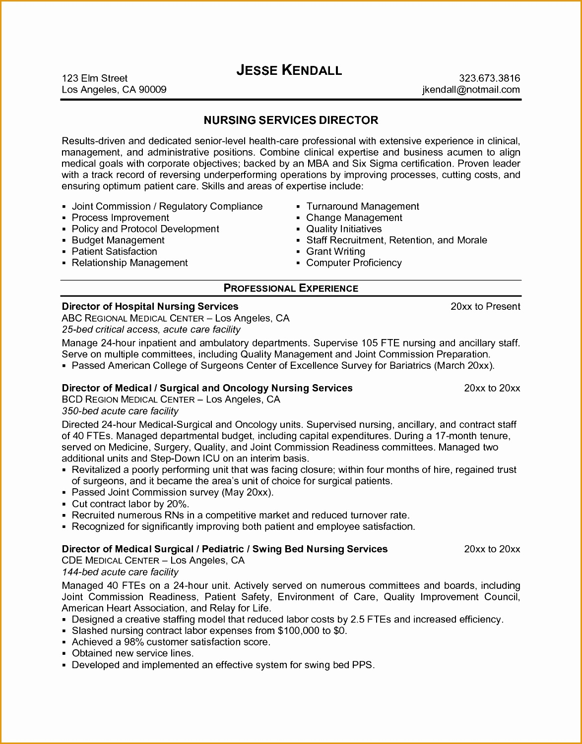 6 Sample Director Nursing Resume Free Samples Examples