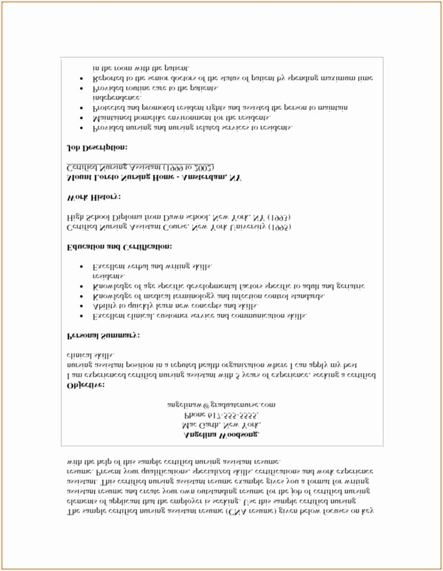 7 Certified Nursing Assistant Resume Example Singuf Free
