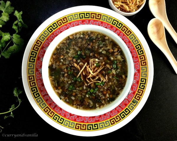 Vegetable manchow soup recipe indo chinese manchow soup curry vegetable manchow soup is a spicy hot and sour indo chinese soup loaded with crunchy vegetables flavored with soy sauce and vinegar and thickened with a forumfinder Images