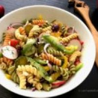 Rainbow Garden Pasta Salad with Dill and Olives