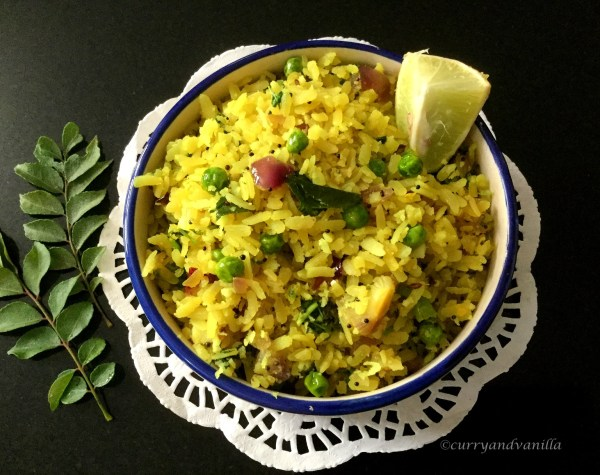 Spicy Matar Poha/Indian Spiced Rice Flakes with Peas