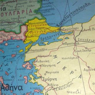 A Greek political map of Europe is also a map of the Greek political     Turkey depicted on a Greek map