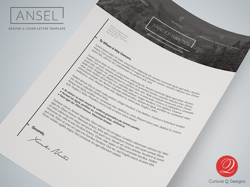 Ansel   Resume and Cover Letter Template   Cursive Q Designs Ansel     Resume and Cover Letter Template