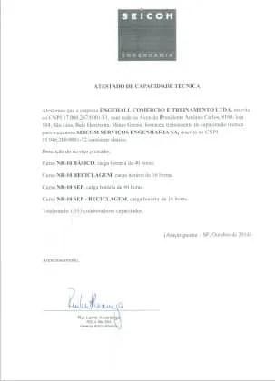Atestados e Certificações Engehall 1