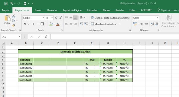 Planilha com as fórmulas digitadas