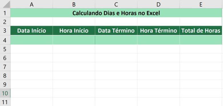 Calculando dias e horas no Excel - Criando a planilha