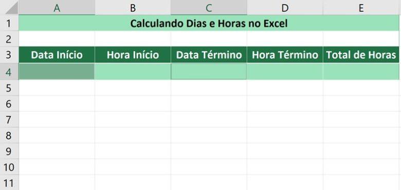 Calculando dias e horas no Excel -Selecionando as datas