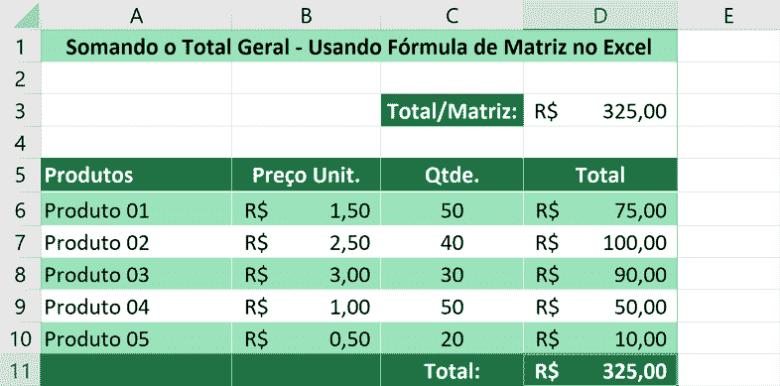 Somando usando fórmula de matriz no Excel - Total