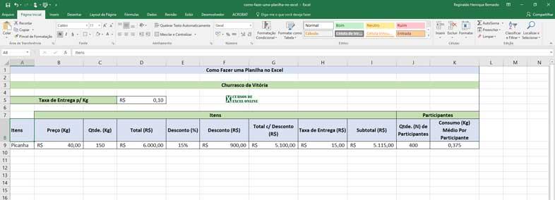 Como fazer uma planilha no Excel
