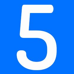 número 5 azul