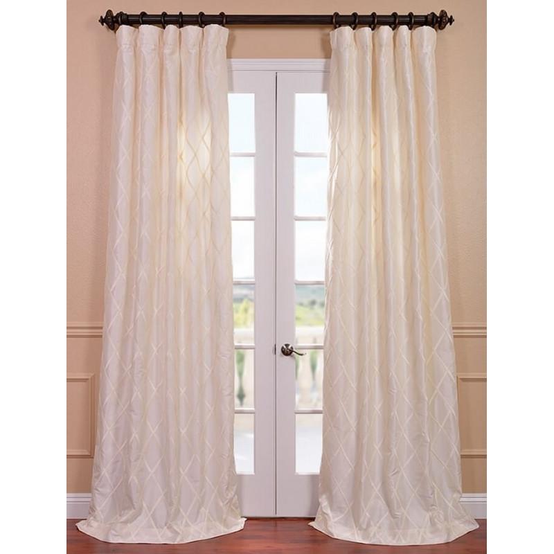 Alexandria Off White Taffeta Faux Silk Curtain Curtain