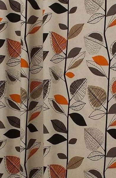 Autumn Leaves Amber Curtain Fabric