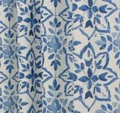 blue navy patterned curtain fabric uk