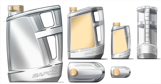 original Bapco bottle design concept sketches
