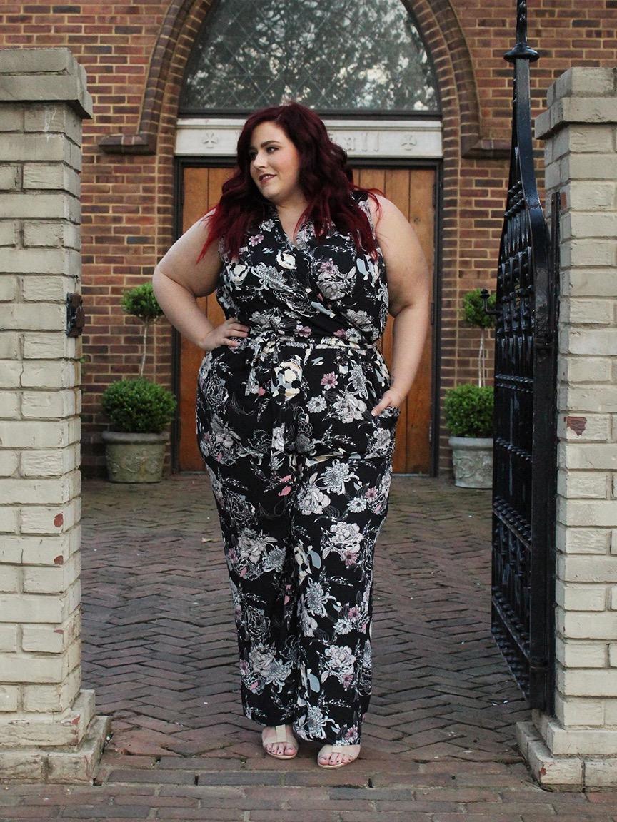 Image of Lush Floral Plus Size Jumpsuit