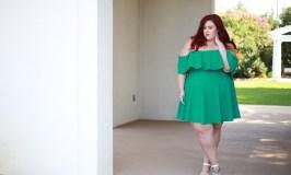 Plus Size Jewel Tone Off the Shoulder Dress