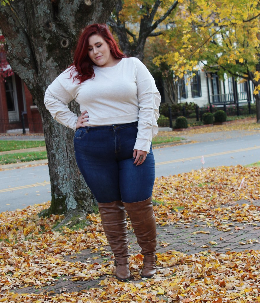 Plus Size Cropped Sweater Look