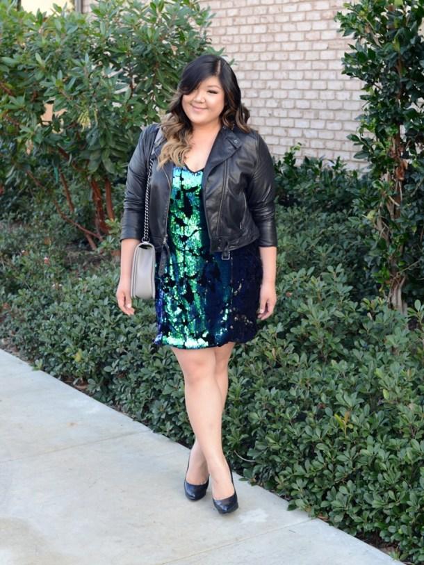 8b0355b576506 Curvy Girl Chic Plus Size Fashion Blog Forever21+ Sequin Dress Leather  Jacket Chanel Boy Bag