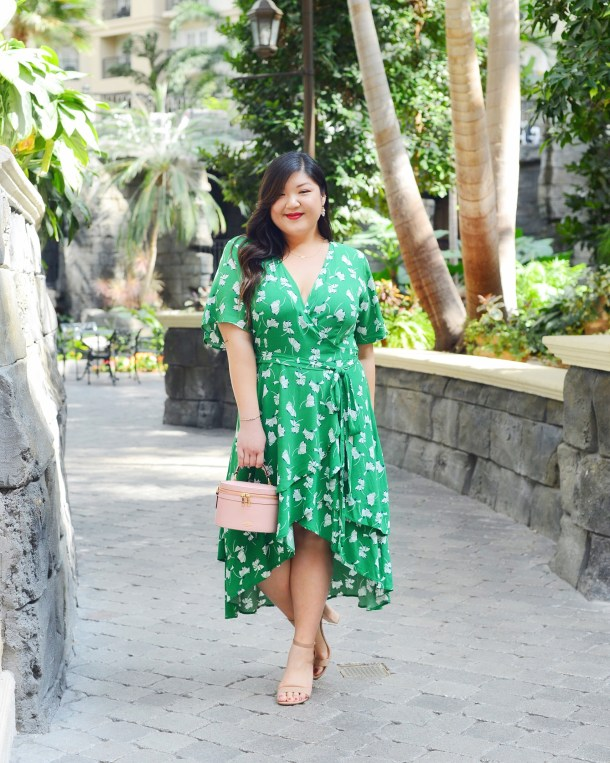 4e58cdae85e Curvy Girl Chic Plus Size Fashion Blog ELOQUII Green Floral print Wrap Dress  with Ruffles Gaylord