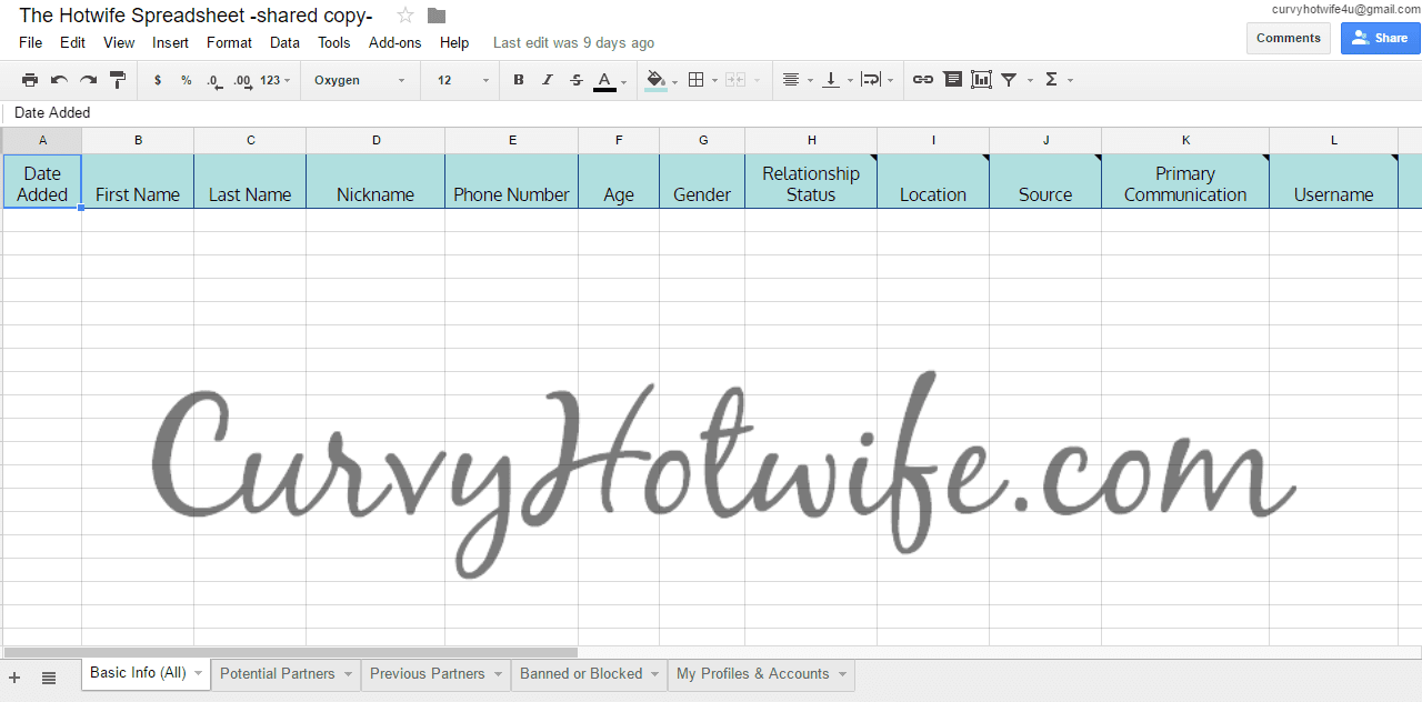 The Hotwife Spreadsheet