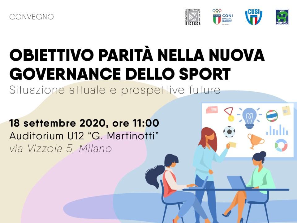 CONVEGNO: Obiettivo parità nella nuova governance dello sport • CUS Bicocca