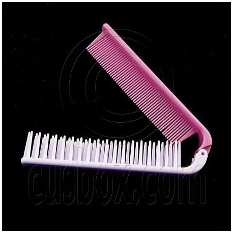 foldable dual hair brush b pink