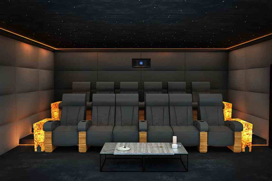 Formal Home Cinema Seating showing Double Seat on Front Row