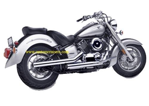 yamaha xvs650 dragstar exhaust hard krome exhaust 2 75 staggered straights