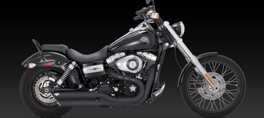 harley davidson dyna wide glide 2010 up fat bob 2008 up twin slash 3 slip on exhaust black vance and hines cat no 46845