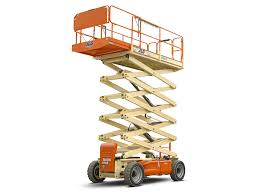 Electrician with scissor lift.  Electrician to reach high spot.