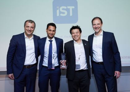 IST receiving Genesys award (from L-R: Giorgio Villa, Senior Account Executive, Channels at Genesys, Sherif Fahmy, Marketing Manager at IST, Norman Liu, Marketing Director at IST and Friedbert Schub, Senior Vice President, Sales at Genesys)