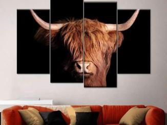 Scottish Highland Cow Multi Panel Canvas Wall Art