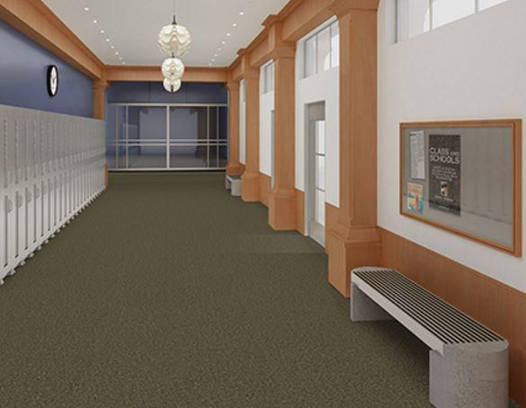 Mohawk Carpet Tile Rookie Olive Installed