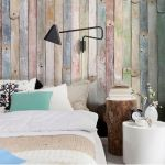 Brewster offers a country rustic appeal with pops of color in an affordable easy to hang wallpaper.
