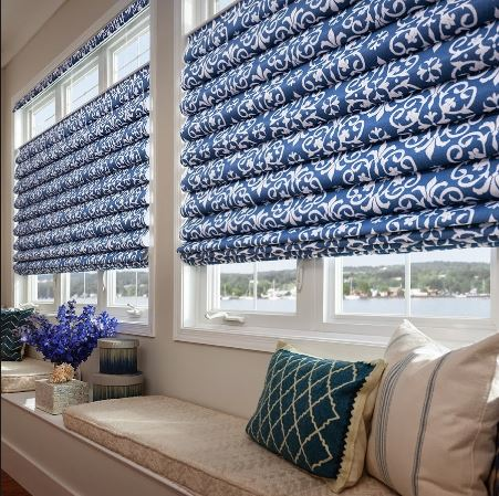 Bold patterns in these custom Comfortex Window treatments draw attention to the window while the top-up-bottom-down design offers light filtering privacy.