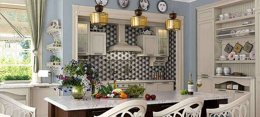 Industrial meets country with a bold Glazzio backsplash.