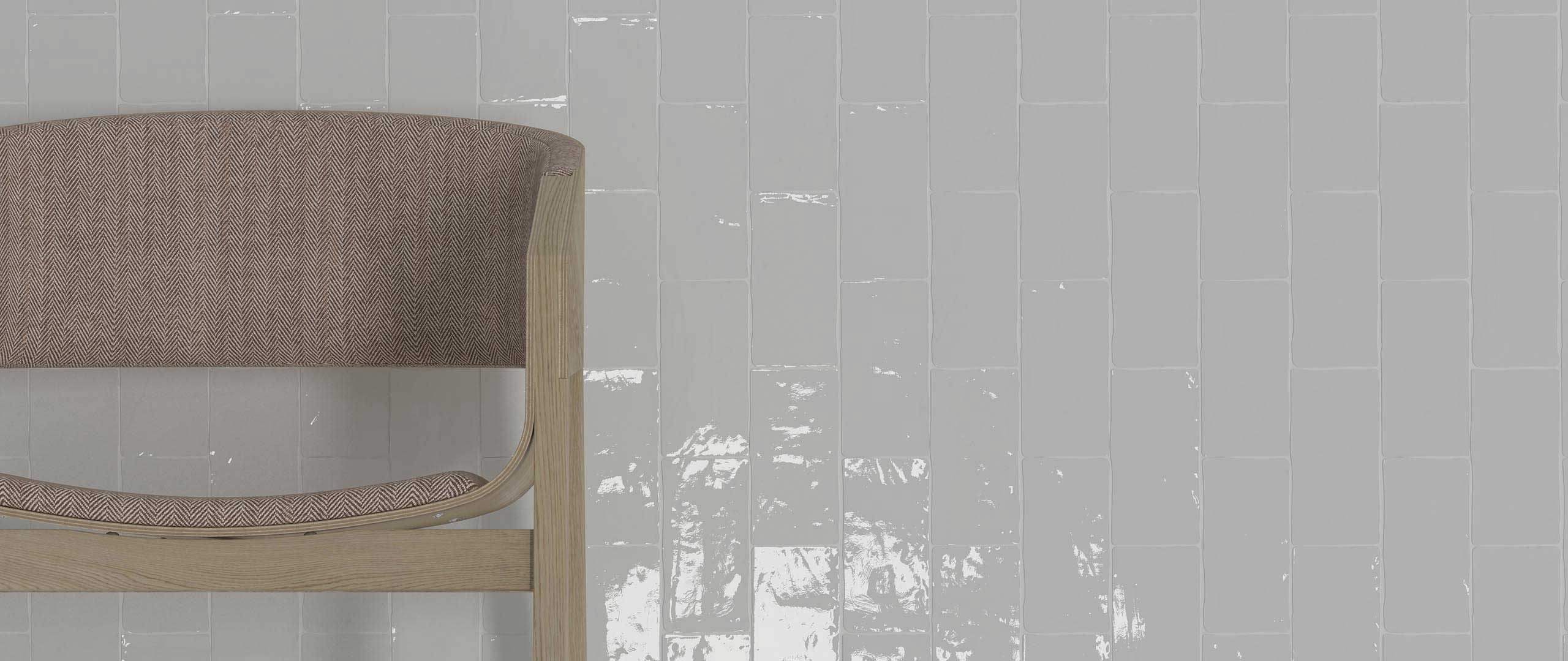 A waterfall or vertical installation of Handcrafted Taupe. Available at Custom Home Interiors