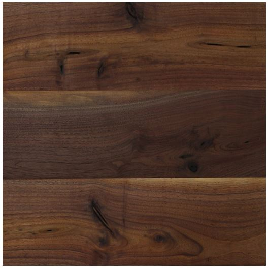 Vivid, milky walnut planks in wide, long boards for a rustic modern look by Bolyu.