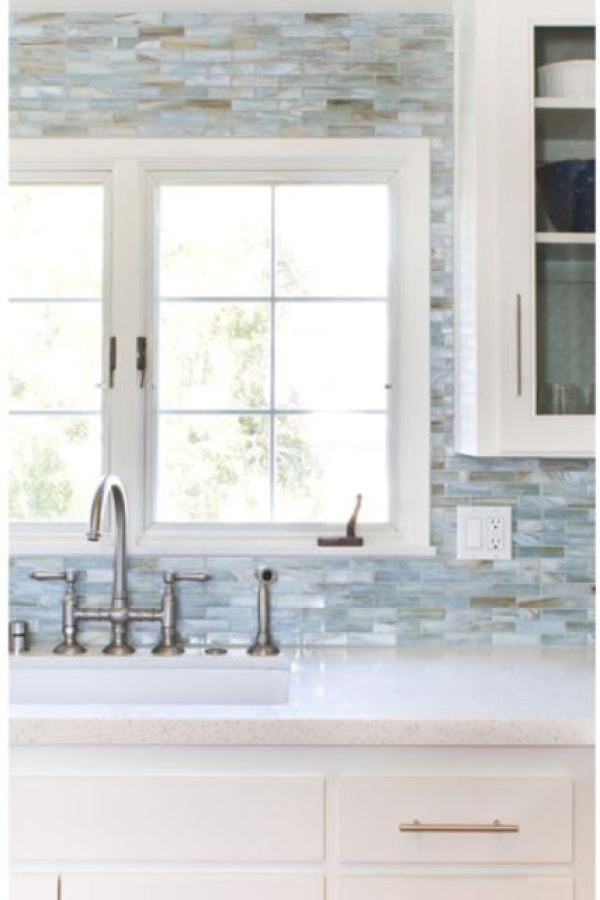 Mountain's Kiss the Sky Quartzite Glass Mosaic at Custom Home Interiors