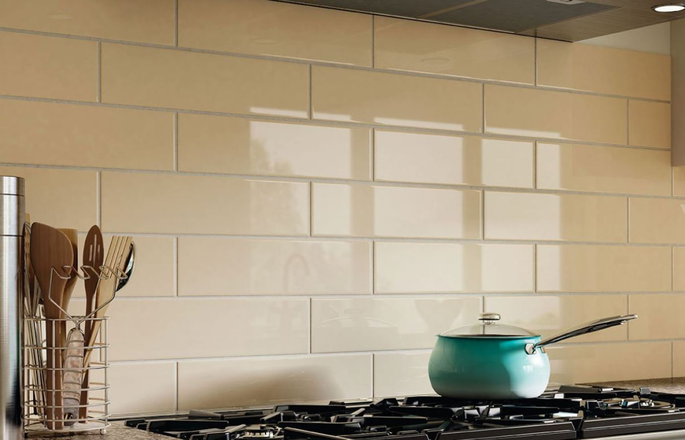 Cream Heavy Bevel Subway Tile Polished available at Custom Home Interiors!