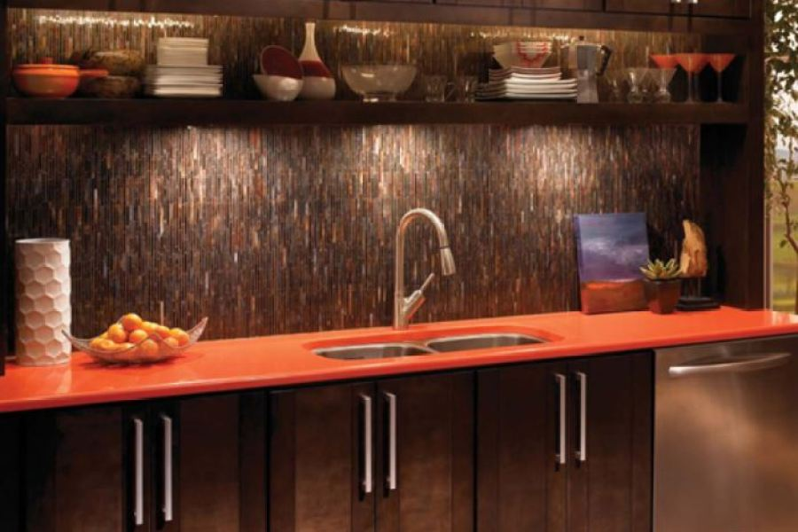 Copper Rust Canyon Vertical Glass Bars Mosaic Tiles available at Custom Home Interiors!