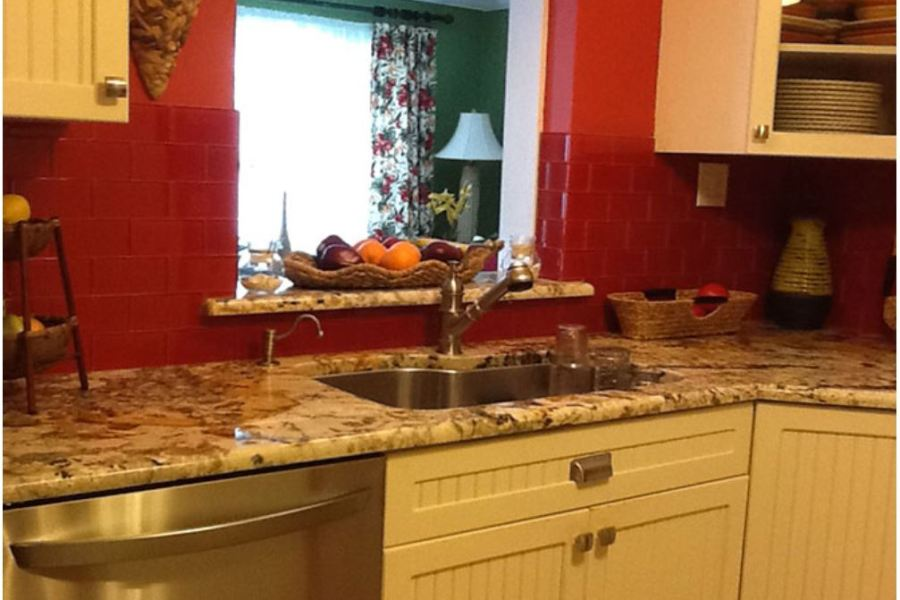 Red Apple Rockin' Rye Glass Subway Tiles  available at Custom Home interiors!