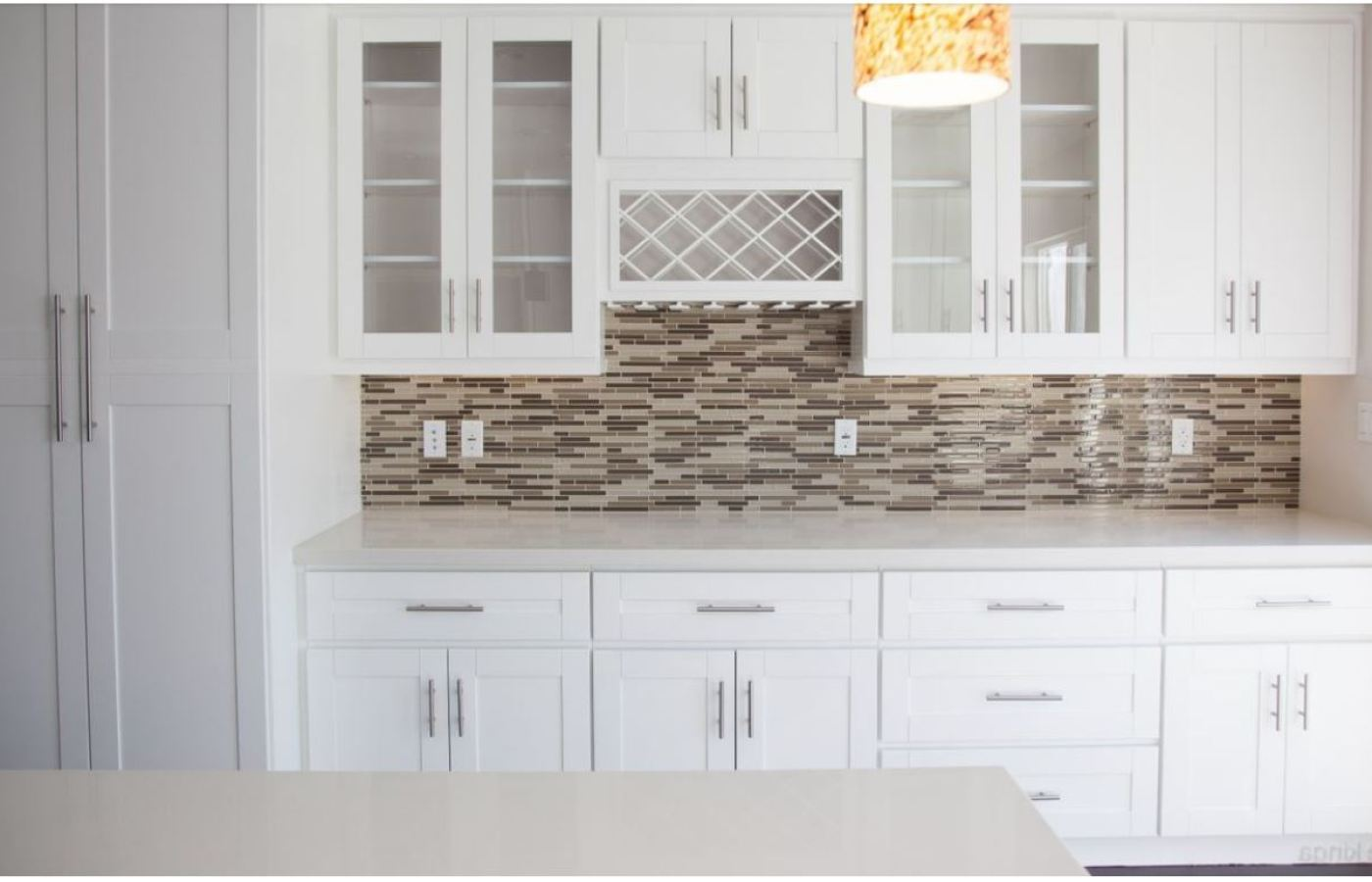 Color Block Neutral Brown Stacked Glass Mosaic available at Custom Home Interiors!