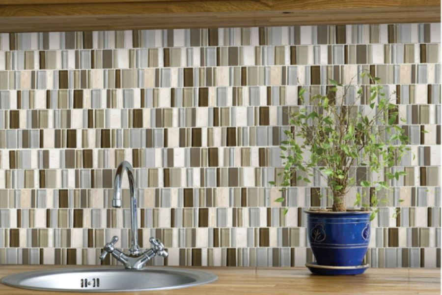 The Funky Monkey Neutralrama Glass and Stone Mosaic available at Custom Home Interiors!